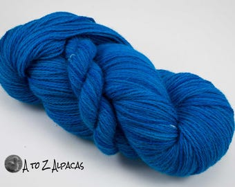 Hand Dyed Worsted Weight ALPACA Yarn :) Blue me Away