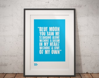 """Manchester City Print / """"Blue Moon"""" /  Man City Gifts / Football Wall Art / Limited Edition Posters / Gifts for Football Fans / Soccer Gifts"""