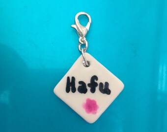 Hafu (Half Japanese) ceramic zipper pull pendant charm