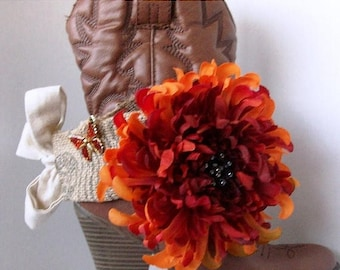 SALE Shabby Chic and girly boot sash jewelry for wearing as dressy formal wear for your boots Fall orange red flower and orange butterfly pi