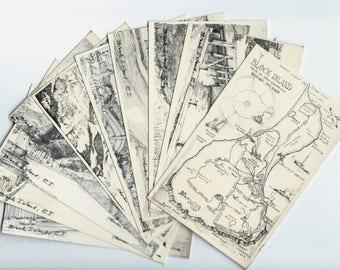 Block Island Rhode Island 10 Vintage Postcards Set by Charles H. Overly, Signed Unused R.I. Ephemera Lot c1960s, FREE SHIPPING