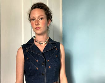 70's Vintage Denim and Leather Vest top sm XS