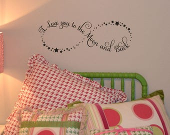 I love you to the moon and back quote wall decal vinyl wall sticker home decor vinyl lettering KW1175