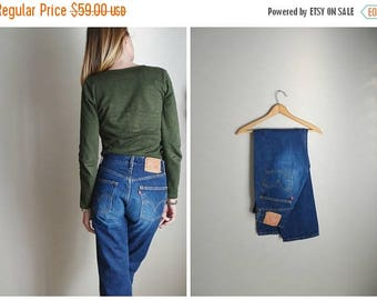 Summer SALE - 20% off - vintage 80s 501s-- dark wash denim -- button fly jeans -- ladies 28x30