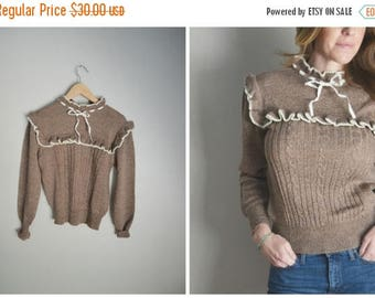 Summer SALE - 20% off - vintage 70s acrylic brown ruffle feminine sweater -- womens small