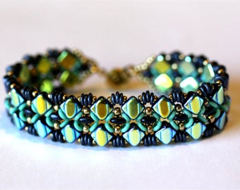Beadweaving bracelet in 'Silky' pattern, turquoise& blue O beads,champagne gold seed beads,bracelet,cuff, Amy Johnson Designs,jewelry,BX2117