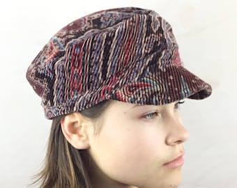 Wine velvet cord cap, fishermans cap, newsboy cap,retro style cap