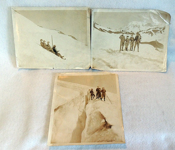 "3 1920s Frank Jacobs 8"" x 10"" Photos.. Mountain Climbers Rainier National Park, WA"