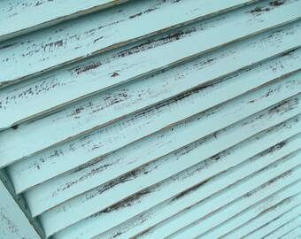 Vintage Distressed Painted Wood Louvered Shutters