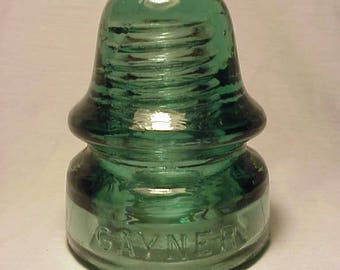 c1890-1900 Gayner No. 36 - 190 , Aqua Glass Electric Telegraph Telephone Insulator No.2