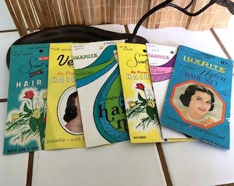 """Vintage 60's - 70's  """"HAIR NETS""""  Lot of 7  by LuxRite, Venus & Sweet 'n Sheet Brands"""