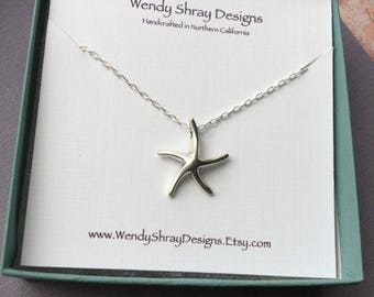 Starfish necklace, sterling silver starfish on sterling silver chain, resort jewelry, large starfish charm necklace, sea life necklace N283