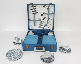 Vintage Brexton Picnic Set -  1950s - Blue - Four Person - Made in England - Classic Car
