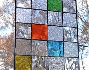 Stained glass window panel READY TO SHIP 8 x 10 suncatcher