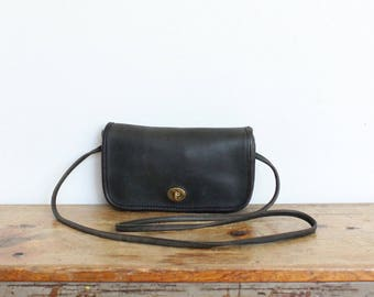 Vintage Coach Purse // Penny Bag Black Gray Dinky Handbag // Coach Leather Shoulder Bag USA