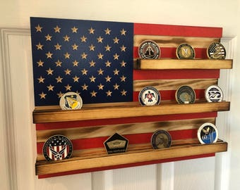 """12"""" x 15"""" - 25 Coin Challenge Coin Display Case Holder Rustic US American Flag Military Army Navy Air Force Marines Coast Guard Veteran Gift"""