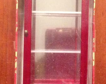 Miniature dollhouse  mirrored display case wooden