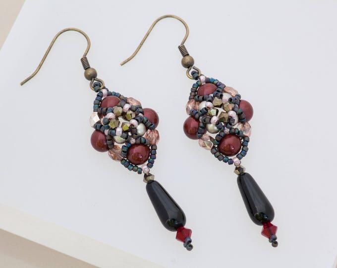 Featured listing image: Maroon Bracelet, Edgy Jewelry, Fashion Jewelry, Glam Punk, Spike Bracelet, Beaded Bracelet Set, Dagger Earrings, Gothic Jewelry, Gunmetal