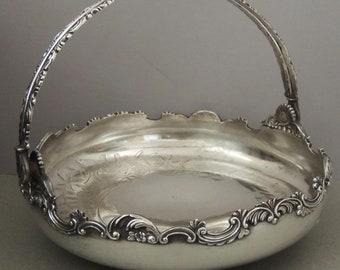 Vintage Silver Plate Basket, Rockford Silver Co Basket, Silver Basket with Handle, Antique Ornate Silver Basket, Silver Plate Serving Basket