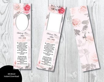 Funeral bookmarks etsy for Funeral bookmarks template free