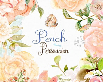 Floral roses clipart, clipart peach roses, peach rose clipart, watercolor clipart, clip art roses, peach flower clipart,floral png