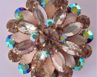 Soft & Starry Mauve/Lavendar And Iridescent Blue Faceted Rhinestone Crystal Brooch With Open Back For Added Sparkle