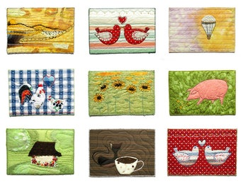 Fabric postcards - textile art in a mini size 4x6