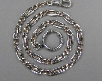 Antique Niello Chain, Rose Gold Gilt, Niello Necklace, 800 Silver, Chain Necklace, Edwardian, Victorian, Gift for Her