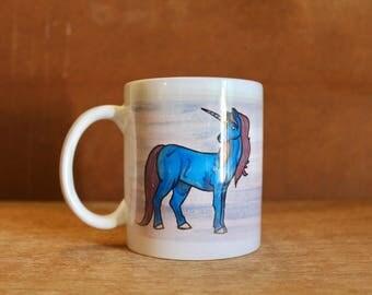 "E.B. White ""Always be on the lookout for the presence of wonder"" Unicorn - Ceramic Mug - Heat-Press Sublimation of Original Artwork, 12 oz"