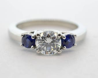 Platinum .61ct Certified SI1/F Diamond and Sapphire Three Stone Engagement Ring- Size 5.75