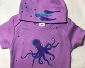 Purple Organic cotton baby gift Octopus and Fish Baby Gift Set Hand Painted Bodysuit and Baby Hat  Fun Baby Present