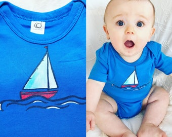 Sailboat baby bodysuit, organic cotton baby clothes, summer beach, boating fun, unique baby shower gift