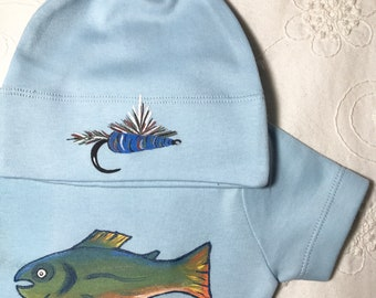 Trout and Fishing Fly for baby for Fathers, baby hat to match, organic cotton in light blue for eco baby, soft and chemical free