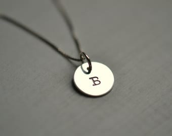 Letter B Monogram Necklace Silver Initial pendant and chain