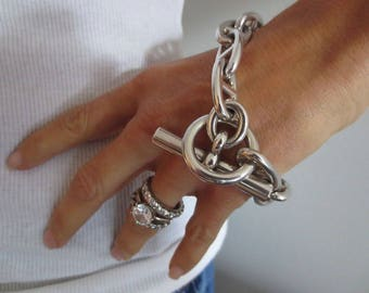 HERMES Chaine d'Ancre Bracelet JumboTGM 925 Sterling Silver 125 Grams 22CM