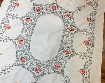 Vintage Cross Stitched and Embroidered Tablecloth