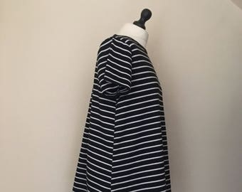 vintage black and white stripe t shirt dress  WOMENS 12-14