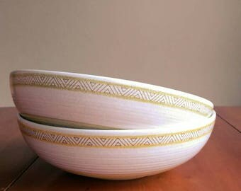 Vintage Franciscan Hacienda stoneware serving bowls green and gold