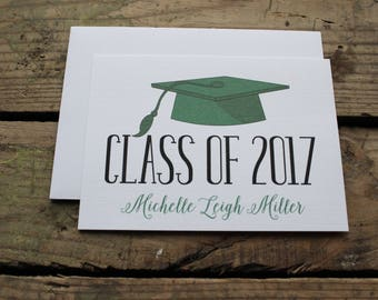 Graduation Thank You Cards, Custom, School Colors, High School, College, Kindergarten, Graduate, Custom Stationery, Green and Black, Cap