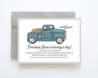 Vintage Truck Baby Shower Invitation, Truck Baby Shower Invite, Truck Baby Shower Invitation, Boy Baby Shower Invitation, Boy Baby Sprinkle