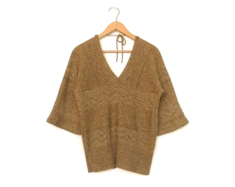 Vintage Brown Sweater Top / V neck / V back / Bell Sleeves / Hippie Boho / 80s / medium
