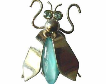 Vintage Rhinestone Fly Bug Brooch