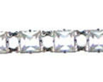 Vintage 1920s Art Deco Open Backed Crystal Bracelet Sterling Silver
