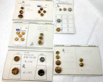 Vintage 1960's Salesman's Sample Metal Buttons Unused On Original Card