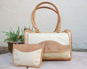 Vintage Rare Authentic Gokey Company Orvis Set Khaki Canvas Leather Trim Double Strap Zip Satchel Top Handle Bag Purse Tote Messenger Bag