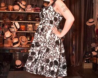 white and black chiffon dress size Large Ready to ship