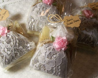 Wedding favors sets, lavender sachets with white lace and organic soap, wedding gift sets, bridal shower favors