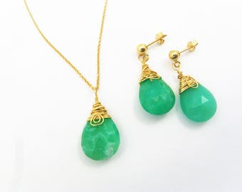 Genuine Sea Green Chyrsoprase Pendant and Earring Set - Emerald Green, Gold Filled