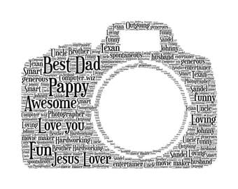 Personalised Camera Word Art Print Unique Gift Birthdays, Fathers Day