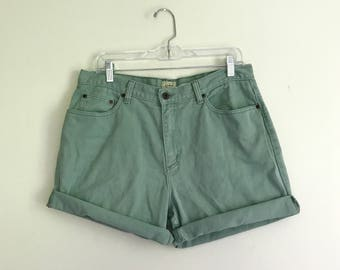 vintage pale moss green high waisted plus size denim shorts